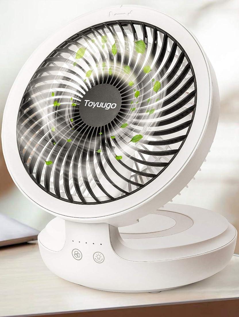 透過性フレット便益卓上扇風機 2019年最新版 Toyuugo 首振り コードレス 充電式サーキュレーター 呼吸ランプ 卓上 静音 usb扇風機 4段階風量調整 折り畳み可能 16時間連続使用 熱中症対策 ミニ扇風機
