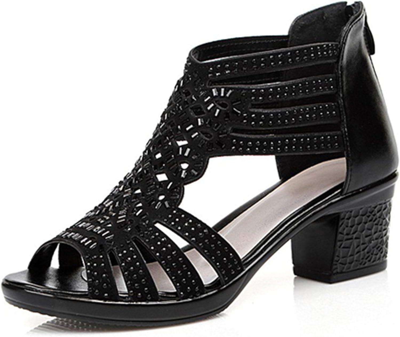 Aworth Women Summer Sandals Rhinestone High Heels Sandals Woman Genuine Leather Gladiator Open Toe Sandalias women