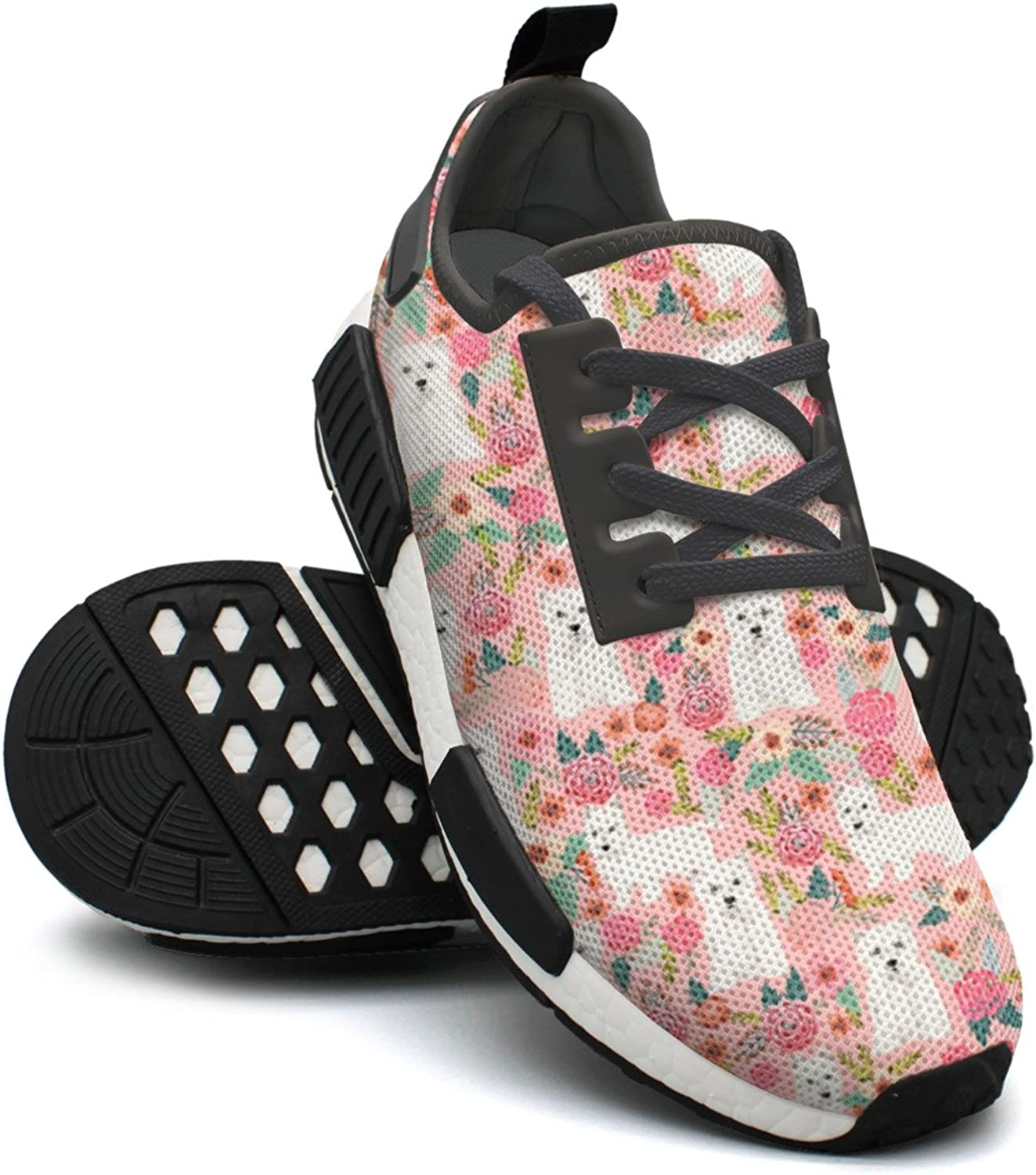 Pink Vintage Westie Dog Floral Women's Hunting Lightweight Sneakers Gym Outdoor Running shoes