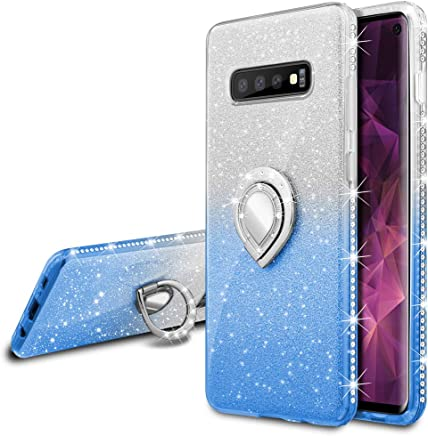 VEGO Galaxy S10 Glitter Case with Ring Holder Kickstand for Women Girls Bling Diamond Rhinestone Sparkly Bumper Fashion Shiny Cute Protective Case for Galaxy S10(Silver Blue)