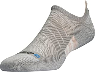 Drymax Unisex Max Cushion Run No Show Tab Socks, Grey, S (Mens 3.5-5.5 / Womens 5-7)