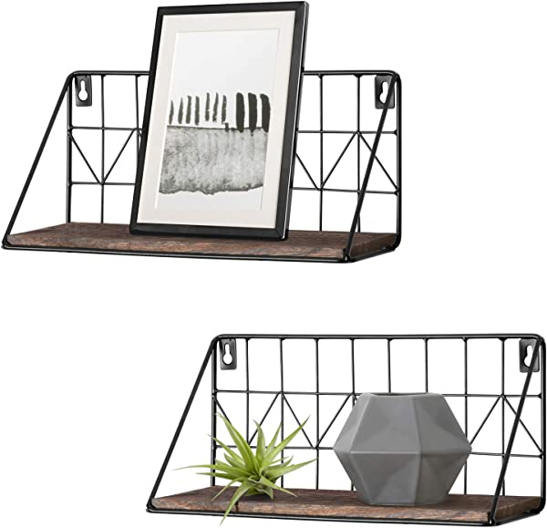 Mkono 2 Set Floating Shelves Wall Mounted Rustic Metal Wire Storage Shelves For Picture Frames Collectibles Decorative Items Great For Living Room Office Bedroom Bathroom Kitchen 11 5 Inches