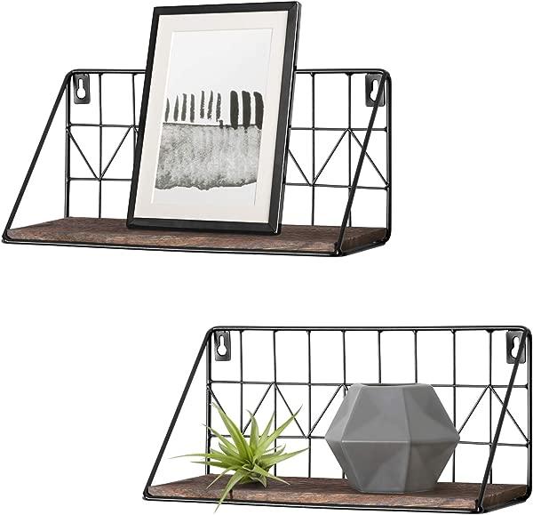 Mkono 2 套浮动货架壁挂式乡村金属线收纳货架相框收藏品装饰物品客厅办公室卧室浴室厨房 11 5 英寸