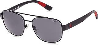 Polo Ralph Lauren Men's PH3119 Square Metal Sunglasses, Semishiny Black/Grey, 58 mm