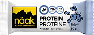 Näak Cricket High Protein Bars - 20 Grams Complete Protein, 6 Grams Sugar, 13 Grams Fibre, All Natural Ingredients, High in B12 Vitamin, Iron, Calcium & Minerals (Blueberry Cheesecake, 1 bar)