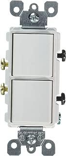 Leviton 5634-W 15 Amp, 120/277 Volt, Decora Single-Pole, AC Combination Switch, Commercial Grade, Grounding, White (Renewed)