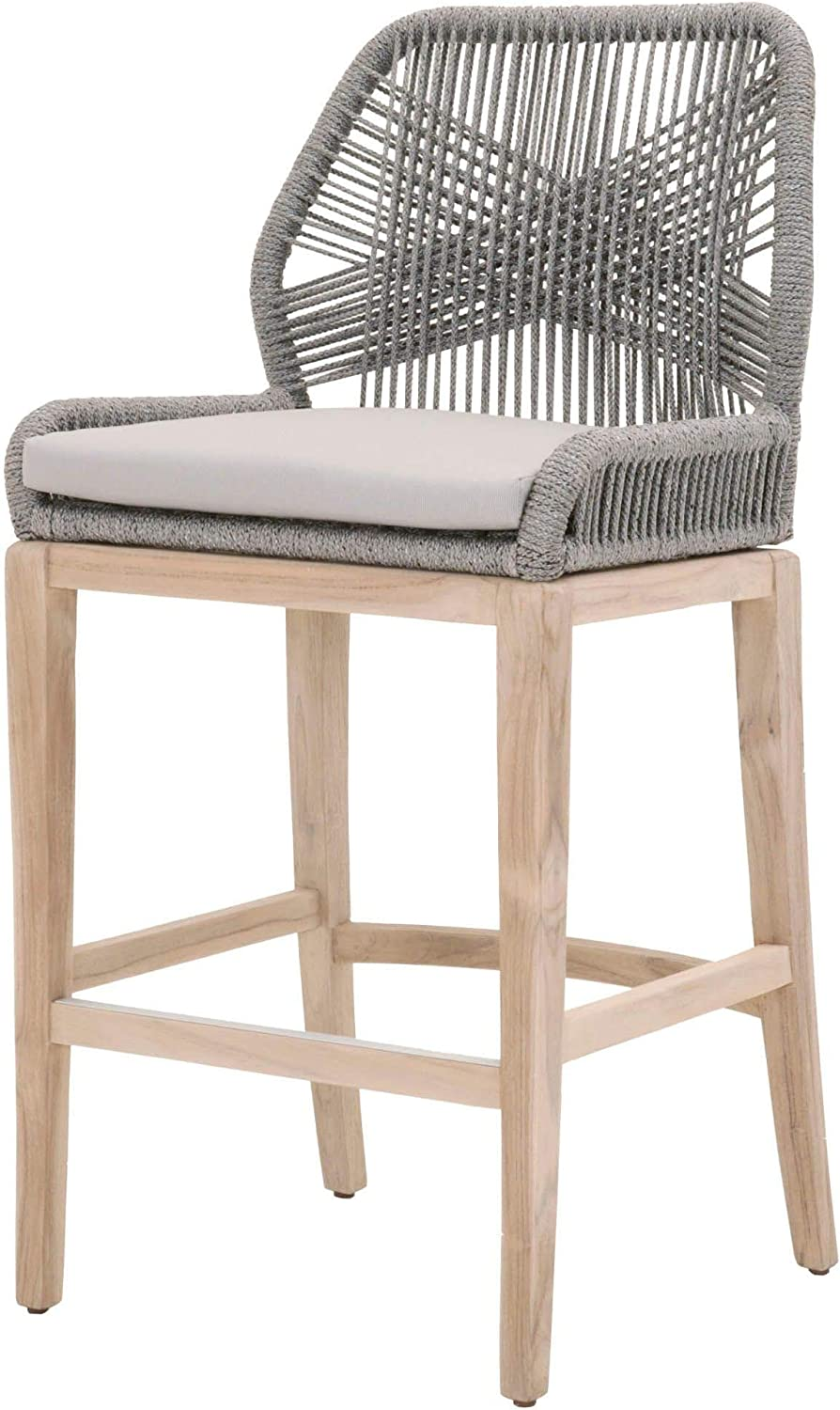 Benjara Wooden Superlatite Barstool with Intricate It is very popular Gray Weave Design Rope a