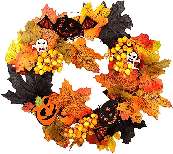 1 PCS Halloween Wreath Maple Leaf Wreath Autumn Wreath Pumpkin Wreath With Light For Front Door Home Decor Easter Decoration A Style