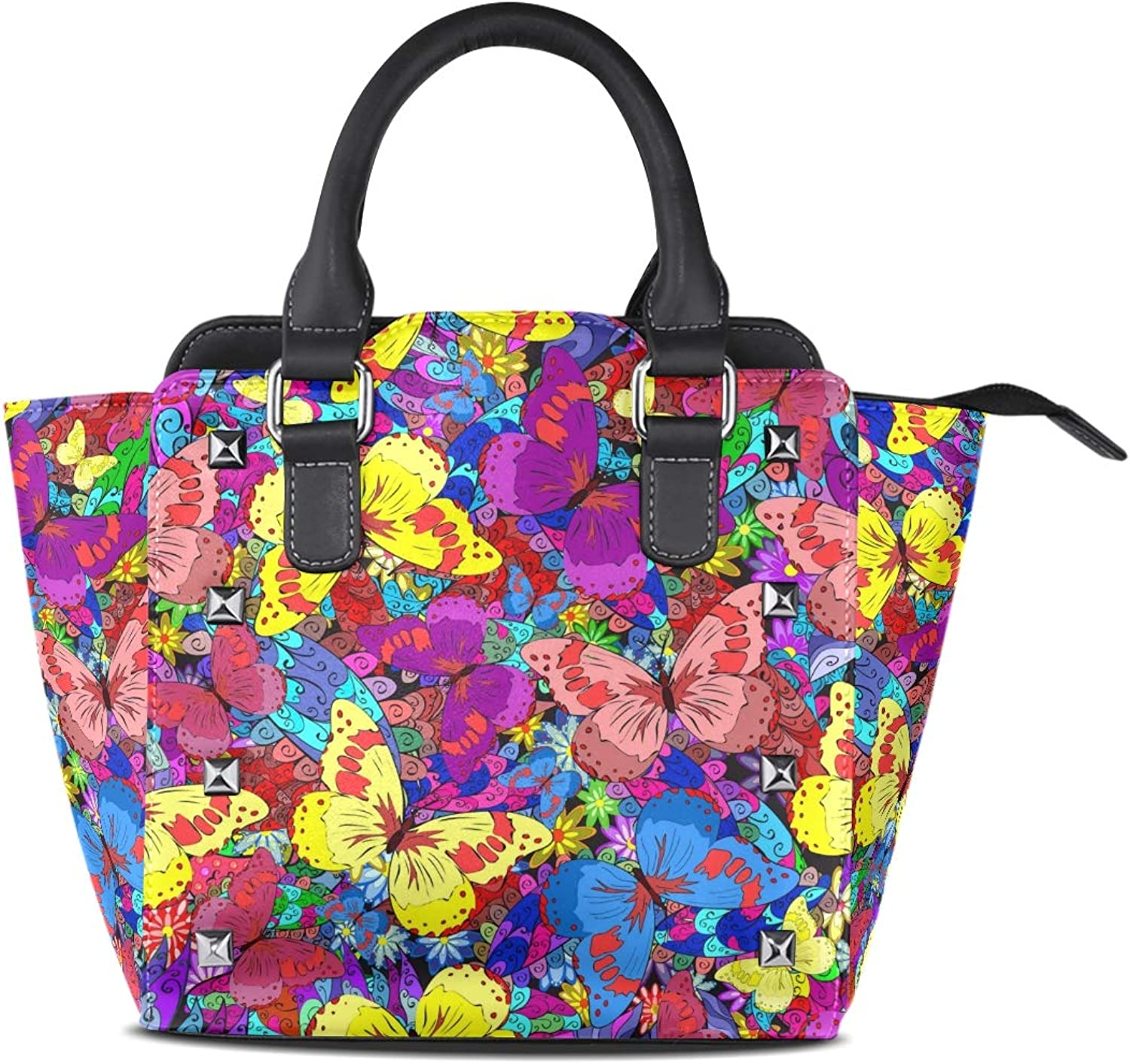 My Little Nest Women's Top Handle Satchel Handbag Abstract colorful Butterfly Ladies PU Leather Shoulder Bag Crossbody Bag