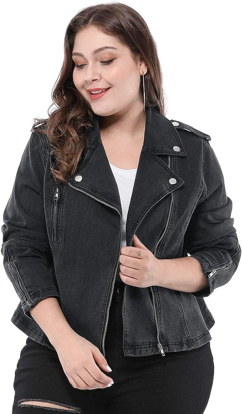 Agnes Orinda Women's Plus Size Denim Jackets Collar Inclined Zip Closure Biker Moto Jacket