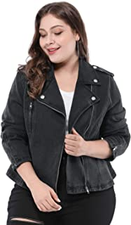 Agnes Orinda Women's Plus Size Convertible Collar Inclined Zip Closure Denim Biker Moto Jacket