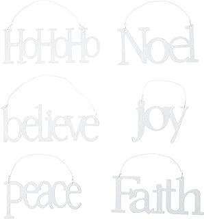 K&K Interiors White Laser Cut Message Ornaments, Set of 6, Faith, Joy, Believe, Noel, Peace, HoHoHo (White)