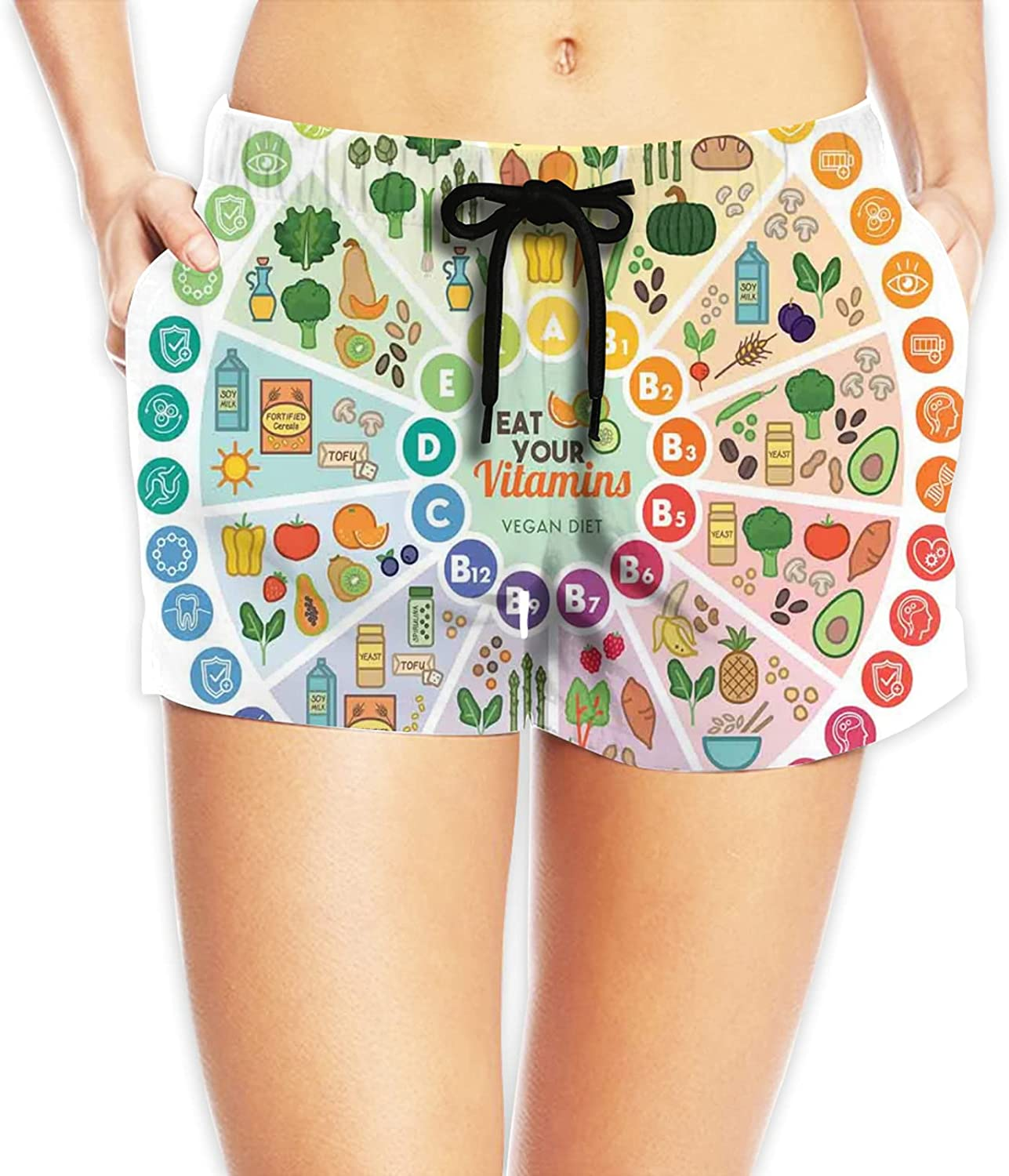 Women's Swim Shorts Sport Board Shorts Swimsuit Bottom,Vitamin Vegan Food Sources and Functions Rainbow Wheel Chart with Icons Healthcare XXL