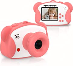 PATCH PANDA Kids Camera, Digital Video Vlogging Camera for Kids (16G Memory Card Included) with Shatterproof Cover and Creative Stickers, Gift Toy for Girls 3/4/5/6/7/8/9 Years Old-Pink