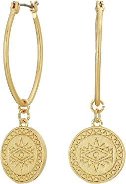 Etched Coin Hoops Earrings