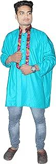 Lakkar Haveli Indian Men's Cotton Shirt Kurta Teal Color Tunic Plus Size