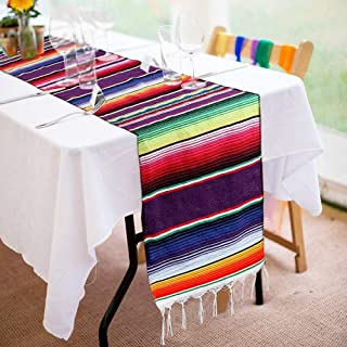 Focushow Mexican Serape Table Runner 14 x 84 Inch for Mexican Party Wedding Decorations Outdoor Picnics Dining Table, Fringe Cotton Handwoven Table Runners