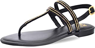 Saint G Women Black Hand Crafted T-Strap Leather Flats