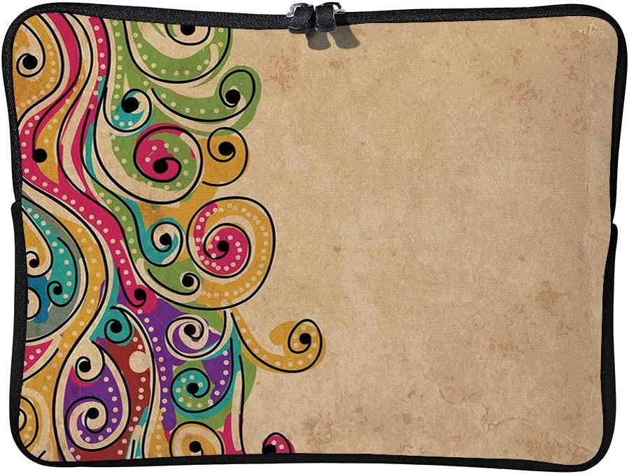 C COABALLA Tribal,Paisley Floral Moon Crescent Gem Cushion Protective Waterproof Laptop Case Bag Sleeve for Laptop AM031713 17 inch//17.3 inch