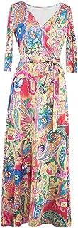 Afibi Womens Bohemian 3/4 Sleeve Faux Wrap Maxi Dress with Belt