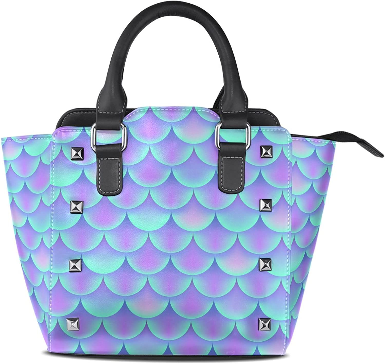 My Little Nest Women's Top Handle Satchel Handbag Mermaid Scale Ladies PU Leather Shoulder Bag Crossbody Bag