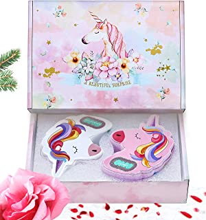 UNICORN Kids Bath Bombs Gifts Set with Rainbow, Colorful Bath Salt with Organic Essential Oils, Birthday & Holiday Kids Gifts for 4, 5, 6, 7, or 8 Year Old Girls, Boys & Teens