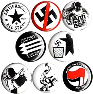 ANTI FASCIST 8 NEW 1 Inch (25mm) Set of 8 Pinback Buttons Badges Pins