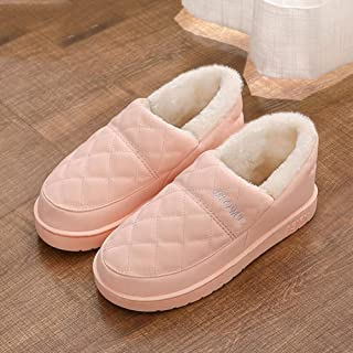 Sxuefang Slippers, Waterproof Warm Thick Bottom Cotton Slippers Outdoor Plush Thick Cotton Slippers