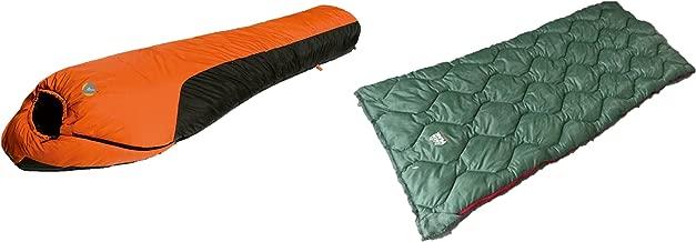 Alpinizmo High Peak USA Mt. Rainier 20F Sleeping Bag + Ranger 20F Sleeping Bag Set, Orange/Green, One Size