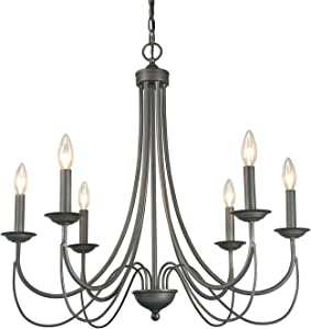 LOG BARN French Country Metal Chandelier Farmhouse Lighting, Brushed Rustic Dark Grey Finish, Kitchen Island Pendant for Dining Room, Bedroom