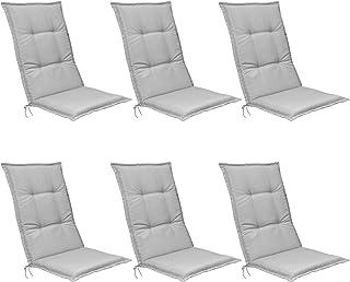 Beautissu Set de 6 Cojines para sillas de Exterior, tumbonas, mecedoras o Asientos con Respaldo Alto Base HL 120x50x6 Placas compactas de gomaespuma - Gris Claro