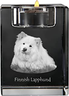 Art Dog Ltd. Finnish Lapphund, crystal candlestick, candle holder with dog, souvenir, limited edition