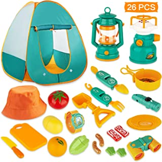 KAQINU 26 PCS Kids Camping Set, Pop Up Play Tent with Kids Camping Gear Toys, Indoor and Outdoor Camping Tools Pretend Play Set for Toddler Boys & Girls
