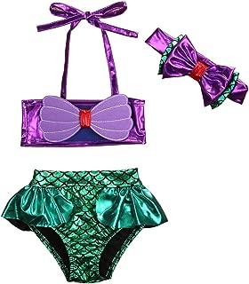 3Pcs/Set Kids Toddler Baby Girl Mermaid Swimsuits Halter Swimwear Bikini Set with Headband