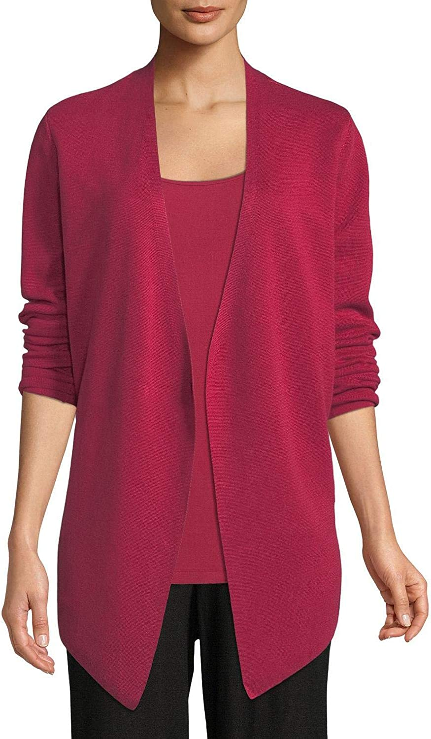 EILEEN FISHER Women's Silk Blend Angle-front Cardigan Sweater Top