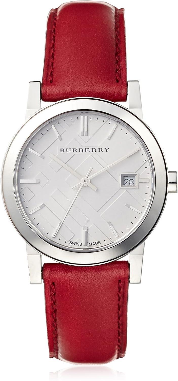 BURBERRY BU9129 - Reloj de Mujer con Correa de Piel roja