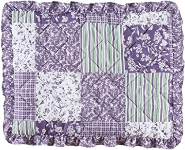Collections Etc Classique Lavender Ruffled Patchwork Pillow Sham with Accents of Green and White - Seasonal Décor for Bedroom
