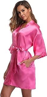 Women's Short Kimono Robe Dressing Gown Silky Bridesmaid Robes Bathrobe