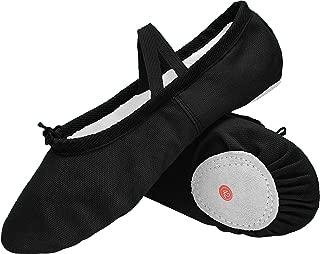 L-RUN Womens Ballet Slipper Canvas Ballet Dance Shoes Split-Toe Black 7.5 M US