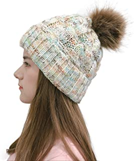 Ausexy_ Thick Cable Crochet Knit Faux Fuzzy Fur Pom Fleece Lined Skull Cap Cuff Beanie Cap