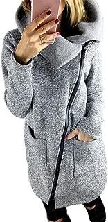 kaifongfu Womens Sweatshirt Casual Hooded Jacket Coat Long Zipper Sweatshirt Outwear Tops