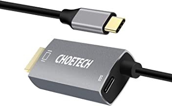CHOETECH USB C to HDMI Cable(4K@60Hz), 6FT Type-C to HDMI with 60W PD Powering Adapter Cable Thunderbolt 3 Compatible with MacBook Pro/iPad Pro/MacBook Air,iMac 2017,Samsung Galaxy S9/S10-Grey