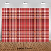 10x8Ft Vinyl Checkered Backdrop for Photography,Red Pink Orange Checkered Pattern with White Lines Cells Graphic Decorative Background Newborn Baby Photoshoot Portrait Studio Props Birthday Party Bann