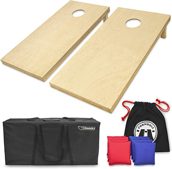 GoSports Solid Wood Premium Cornhole Set Choose Between 4 X2 Or 3 X2 Game Boards Includes Set Of 8 Corn Hole Toss Bags