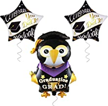 Large Penguin Graduation Balloons for Grad Party- | 2 Star Graduation Ballons | Congrats Grad You Did it Balloon | Graduation Party Supplies for High School, Kindergarten Graduation Ddecorations