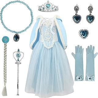 Cinderella Princess Girls Dress Cosplay Fancy Costume Party Girls Wedding Dress Up with Fur Trim Cape