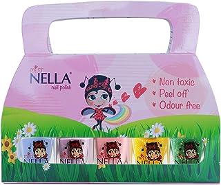 Esmalte de uñas para niños, Miss Nella Springs It On, Lote de 5 Barnices - Azul-campana, Lila-alas de mariposa, Rosa-conejito, Amarillo-miel, Verde-besa la rana.