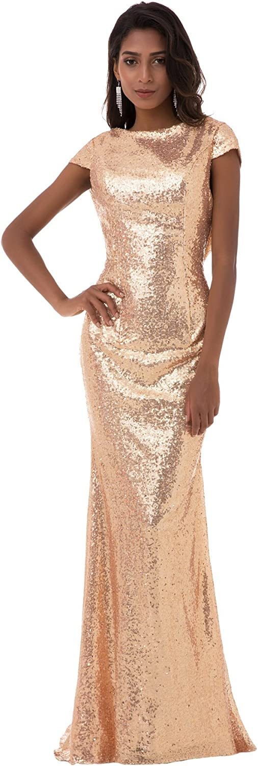 Tsygirls Sparkly Cap Sleeve Long Sequins Bridesmaid Dress Prom Evening Gowns