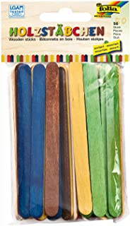 mehrfarbi 25x farbig /& 25x natur 50 Teile folia 2290 Holzstäbchen 114x10x2mm