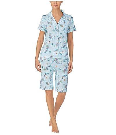 LAUREN Ralph Lauren Classic Knits Short Sleeve Notch Collar Bermuda Pajama Set (Blue Multi) Women
